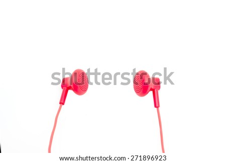 red earphones on white background isolated with path - stock photo
