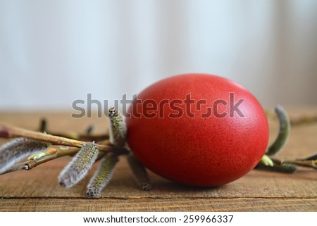Red Easter egg and pussy willows on wooden table - stock photo