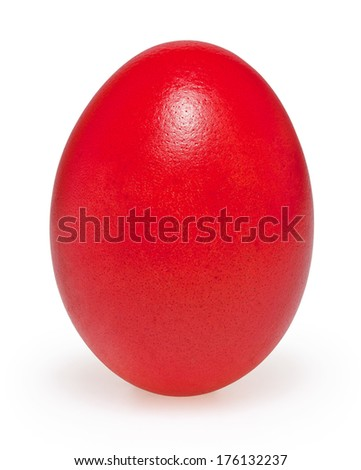 Red easter egg isolated on white background with clipping path - stock photo