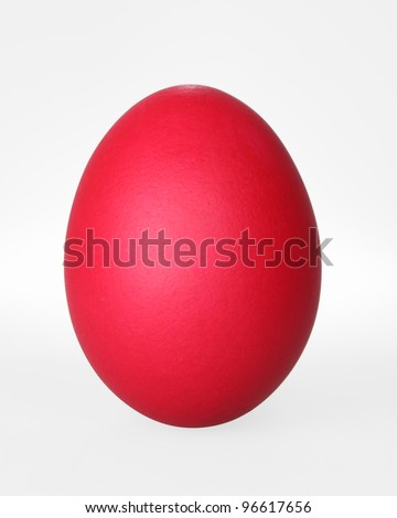 red easter egg isolated on white with clipping path - stock photo