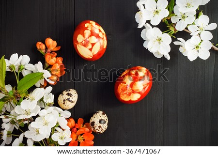 Red Easter eggs. Postcard concept with copy space, free space for text - stock photo