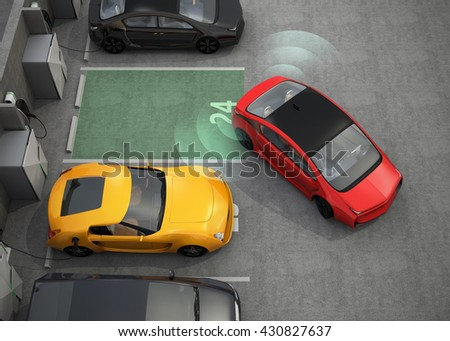 Red electric car driving into parking lot with parking assist system. 3D rendering image. - stock photo
