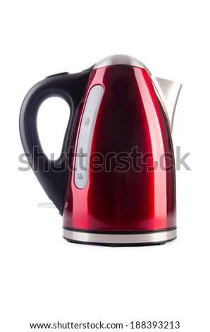 Red electric kettle isolated on white - stock photo