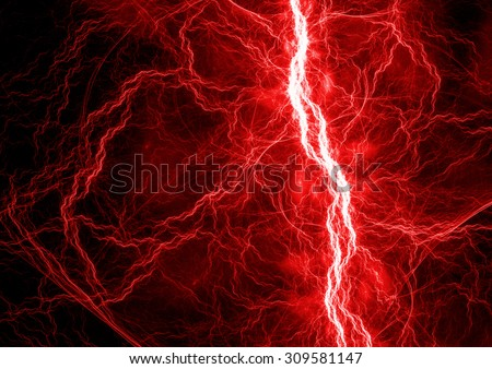 Red electric lightning - abstract electrical background - stock photo