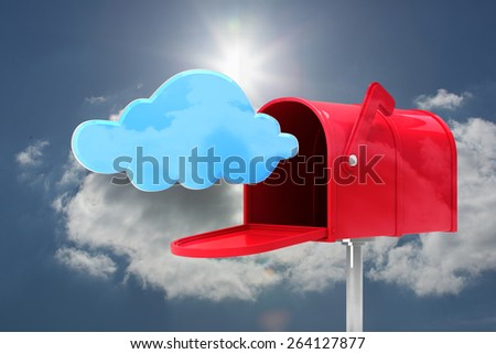 Red email postbox against blue sky with clouds and sun - stock photo