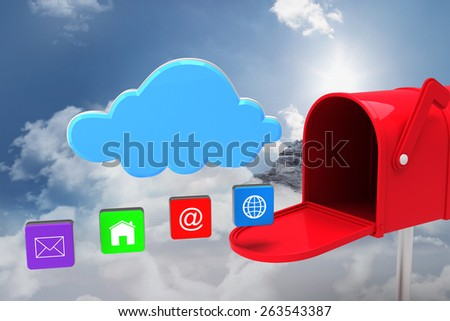 Red email postbox against mountain peak through the clouds - stock photo