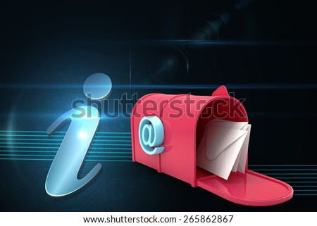 Red email postbox against shiny information icon on black background - stock photo