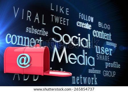 Red email postbox against social media words on black background - stock photo