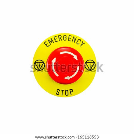 Red emergency button switch isolated on white background - stock photo