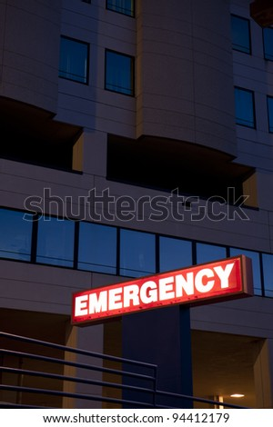Red Emergency department entrance sign - stock photo