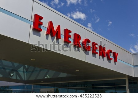 Red Emergency Entrance Sign for a Local Hospital II - stock photo