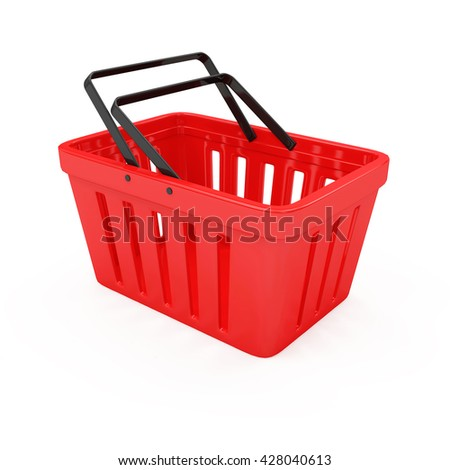 Red Empty Shopping Basket isolated on white background. 3D Rendering - stock photo