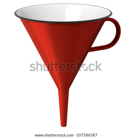 Red enamel funnel or cone isolated on white background - stock photo