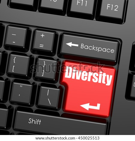 Red enter button on computer keyboard, Diversity word. Business concept, 3d rendering - stock photo