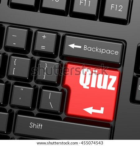Red enter button on computer keyboard, Qiuz word. Business concept, 3D rendering - stock photo