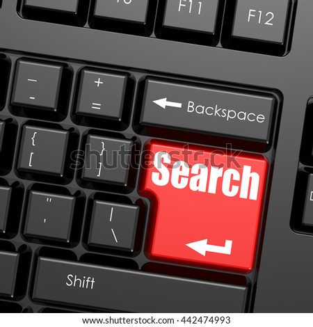 Red enter button on computer keyboard, Search word, 3D rendering - stock photo