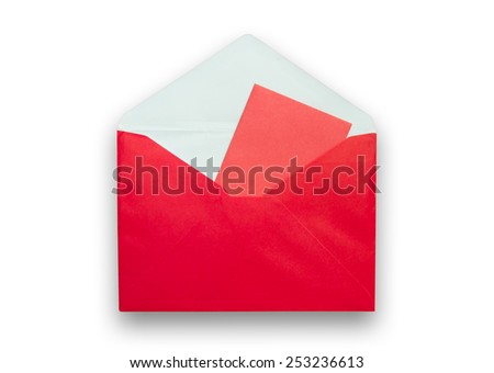 red envelope isolated on white background - stock photo