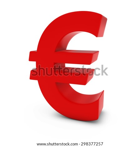 Red Euro Symbol Isolated on White Background - stock photo