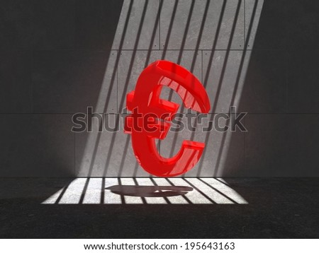 Red Euro symbol trapped in a cell, lit by natural sunlight through bars  - stock photo