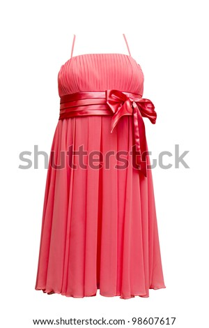 red evening dress isolated on white background - stock photo