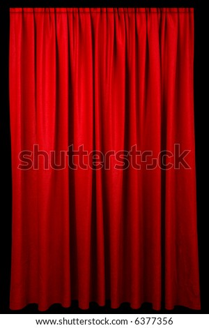 Red event curtain fading to a dark background. - stock photo