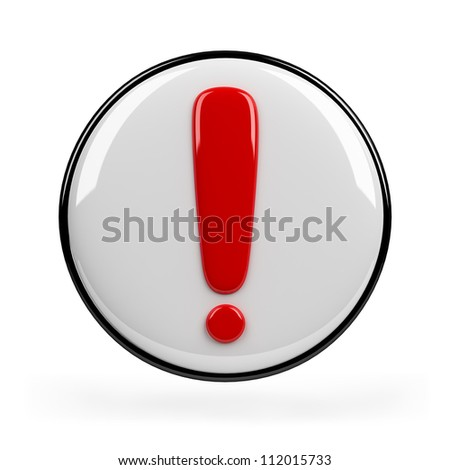 Red exclamation mark. 3d image. Isolated white background. - stock photo
