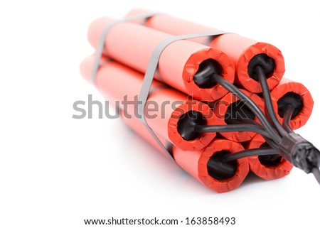 Red explosives isolated over white background shot - stock photo