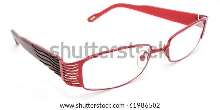 red eye glasses on a white background - stock photo