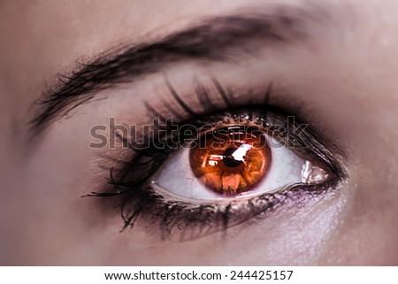 Red Eye Makeup. Beautiful Eyes Make-up. Macro - stock photo
