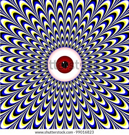 Red Eye  (motion illusion) - stock photo
