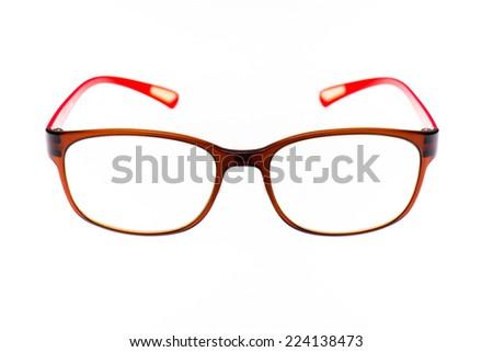 Red eyeglasses isolated on white background. - stock photo