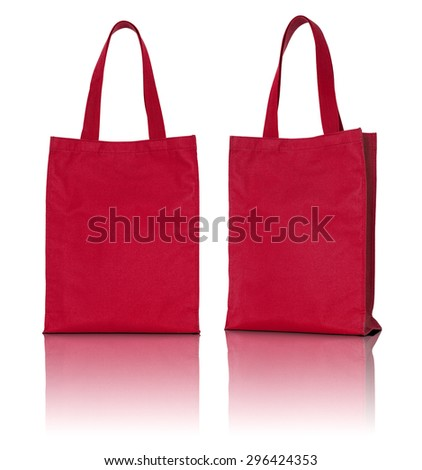 red fabric bag on white background - stock photo