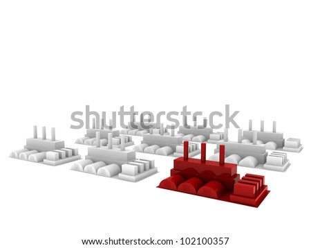 red factory make of difference - stock photo