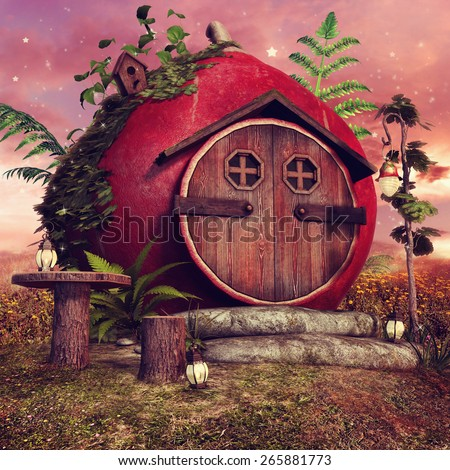 Red fairy cottage with a table, birdhouse and fantasy lanterns - stock photo