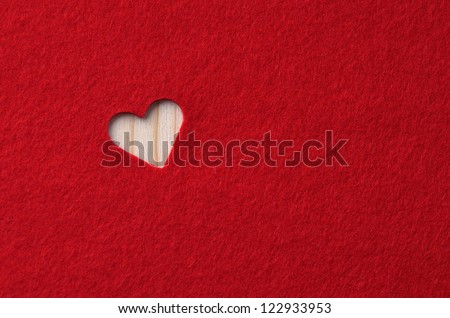 Red felt with heart. Background Valentine's Day - stock photo