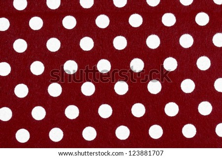 Red Felt with Small White Polka Dots - stock photo