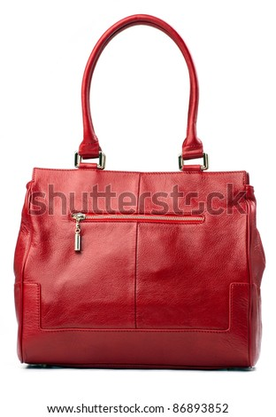 Red female bag isolated over white - stock photo