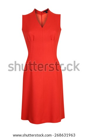 Red female dress isolated on white - stock photo