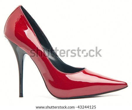 Red female shoes on a high heel. Isolated on white background. - stock photo