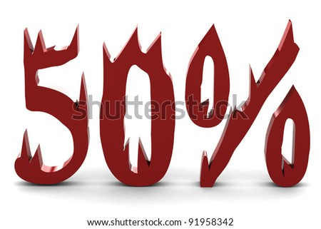 Red fifty percent - stock photo