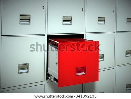 Red file cabinet - stock photo