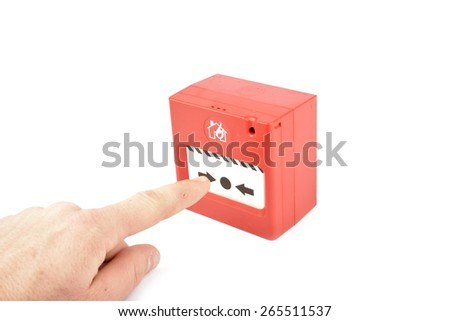 Red Fire alarm on white background - stock photo