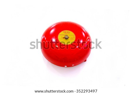 Red fire alarm or fire bell isolated on white background. (Selective Focus) - stock photo
