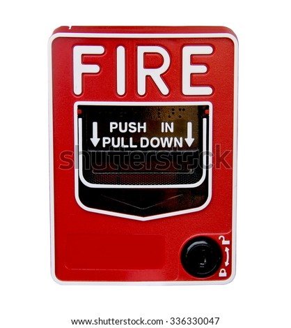 Red fire alarm pull station isolated over a white background - stock photo