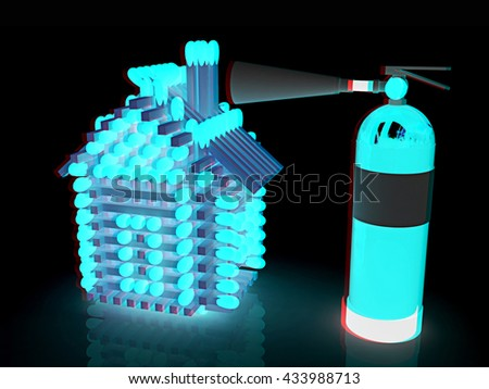 Red fire extinguisher and log house from matches pattern on a black background. 3D illustration. Anaglyph. View with red/cyan glasses to see in 3D. - stock photo