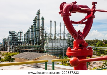 Red fire fix monitor for plant emergency - stock photo