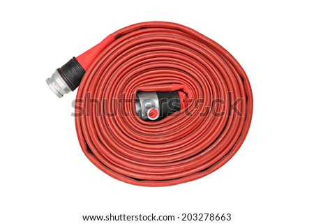 Red fire hose winder through use of firefighters on white background - stock photo