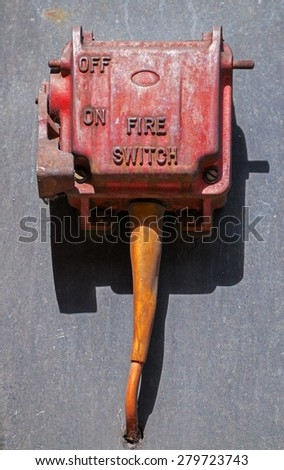 Red fire switch with ON OFF - stock photo