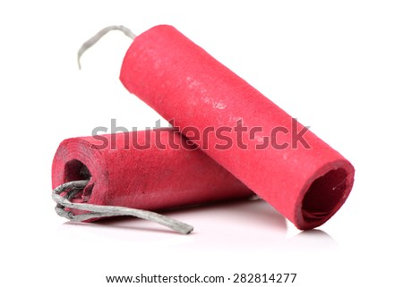 Red Firecrackers on white background - stock photo