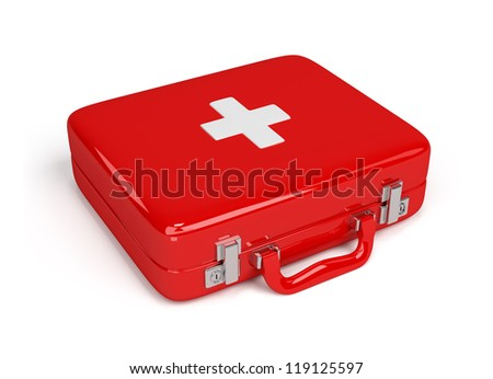 Red first aid kit. 3d image. Isolated white background. - stock photo